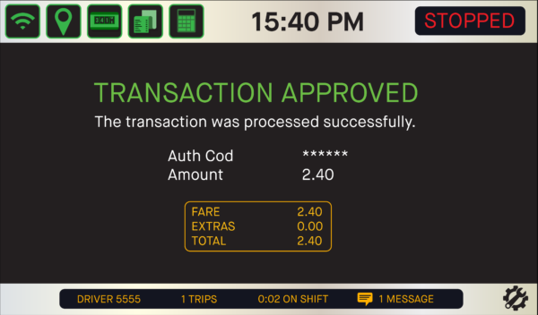 Transaction approved automatically at end of trip